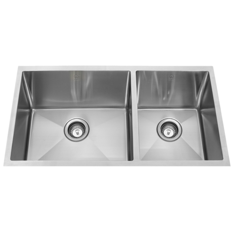 "QILA - SL - 16 Gauge Off Set Square Designer Kitchen Sink -Sink Grids Included - 32"" x 19"" x 10"""