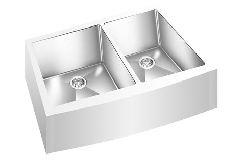 "GEMINI SINK RCFM1313 - Double Bowl Farmhouse Kitchen Sink - Radius Corners - 30"" x 20 1/2""x 10"" - Fits 33"" Cabinet"