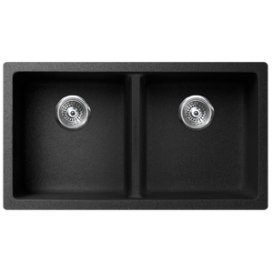 "VERTU - K - Double Equal NuGranite Kitchen Sink - Sink Grids Included - Black -  31 1/8"" x 18 1/8"" x  9 7/8"""