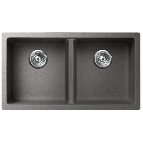 "VERTU - K - Double Equal NuGranite Kitchen Sink - Sink Grids Included  - Graphite Grey - 31 1/8"" x 18 1/8"" x 9 7/8"""