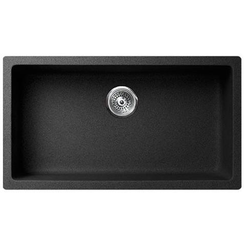 "VERTU - P - Single Bowl NuGranite Kitchen Sink - Sink Grid Included - BLACK - 30 7/8"" x 19 1/2"" x 9 1/2"""