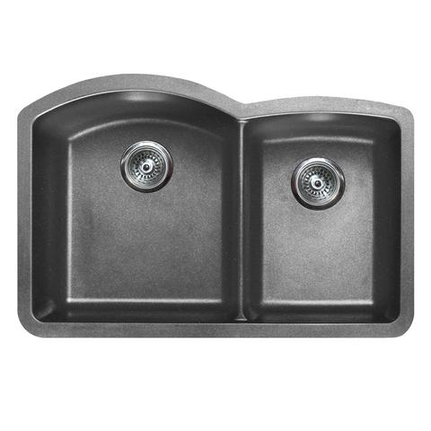 "VERTU - CL - Offset Double Bowl NuGranite Sink - Sinks Grids Included! - Graphite Grey - 32"" x 20 7/8"" x 9"""
