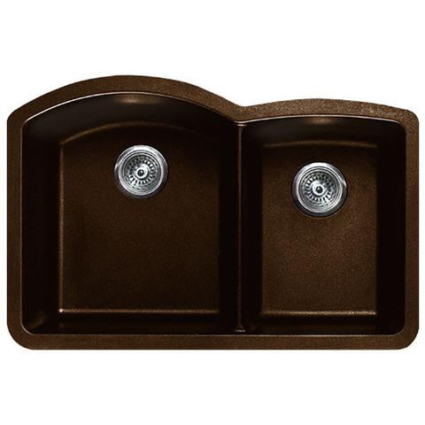 "VERTU - CL - Offset Double Bowl NuGranite Sink - Sinks Grid Set Included! - Chocolate - 32"" x 20 7/8"" x 9"""