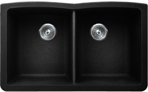 "VERTU - E - Double Equal NuGranite Kitchen Sink - Sink Racks Included - Black -  31 3/4"" x 19 1/2"" x  9 1/2"""