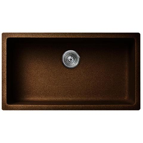 "VERTU - P - Single Bowl NuGranite Kitchen Sink - Sink Grid Included - Chocolate - 30 7/8"" x 17 1/4"" x 7 3/4"""