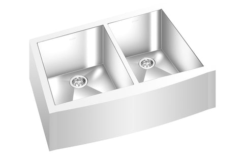 "GEMINI SINK ZFM1509 - Double Bowl Farmhouse Kitchen Sink - Straight Corners - 28"" x 19 ⅝"" - Fits 30"" Cabinet"