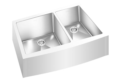 "GEMINI SINK ZRCFM1512- Double Bowl Farmhouse Kitchen Sink - Radius Corners - 31"" x 19 ⅝"" x 9"" - Fits 33"" Cabinet"