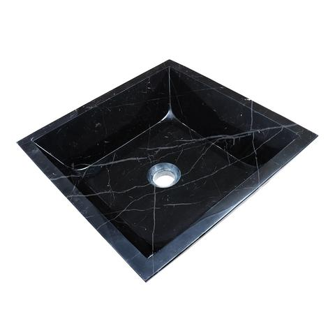 "AURA - KB - Square Hand-Carved Marble Vessel Sink - 16 1/2"" x 16 1/2"" x 5 1/4"""