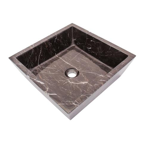AURA - KN - Square Hand-Carved Marble Vessel Sink