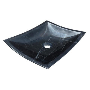 AURA - VB - Square Hand-Carved Marble Vessel Sink