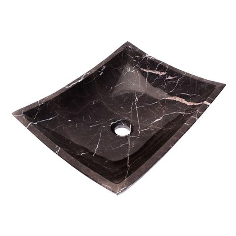 "AURA - VN - Square Hand-Carved Marble Vessel Sink - 18 1/2"" x 14 3/4"" x 5 3/8"""