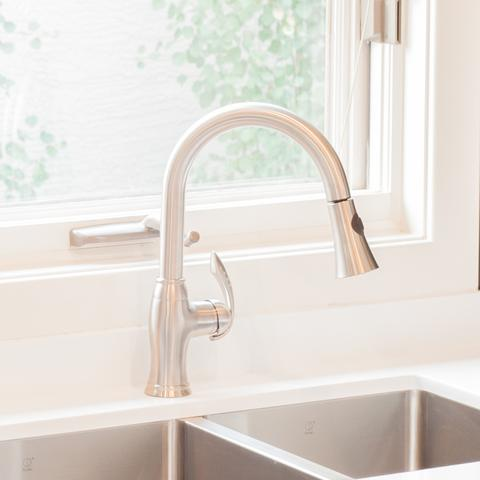 ALTERA -Pull - Designer Down Kitchen Faucet - Brushed Nickel