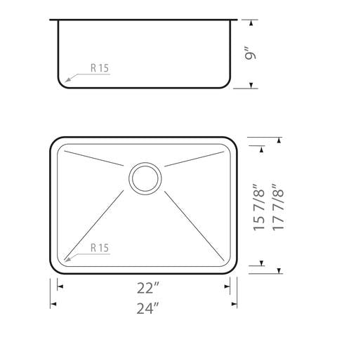 "HANA-MR - Single Bowl Square Sink - 24"" x 18"" x 9"""