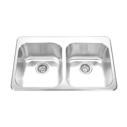 "IONA - E - Classic Top Mount Double Bowl Kitchen Sink - 31 1/2"" x 20 1/2"" x 8"""