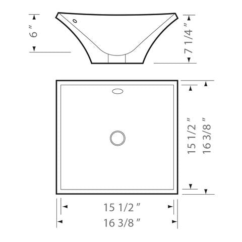 "KASU - DS - Top Mount Square Ceramic Bathroom Sink - 16 3/8"" x 16 3/8"" x 7 1/4"""