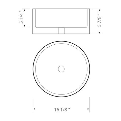 "KASU - DT - Top Mount Circular Designer Bathroom Sink - 16 1/8"" x 6"""