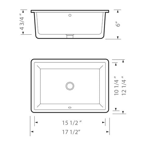 "KASU - SE - Rectangle Under Mount Bathroom Sink - 17 1/2"" x 12 1/4"" x 6"""