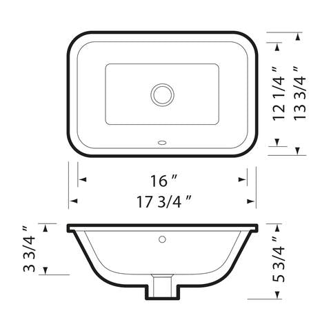 "KASU - SG - Under Mount Rectangle Bathroom Sink - 17 3/4"" x 13 1/4"" x 5 3/4"""