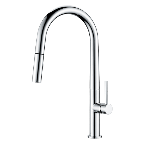 LENNOX - Pull Down Sleek Designer Kitchen Faucet - Polished Chrome