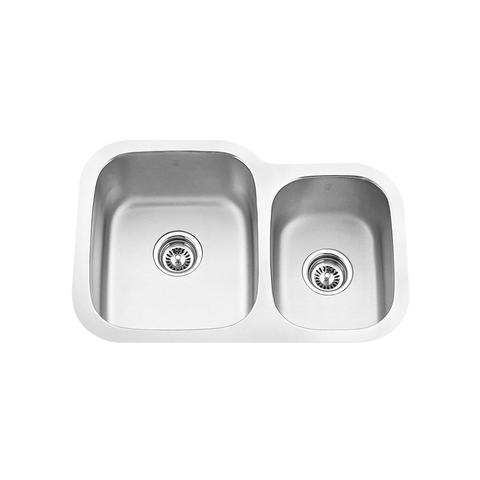 "MABE - CLX - Off Set Double Bowl Under Mount Kitchen Sink - 27 1/8"" x 18 1/2"" x 8 1/4"""