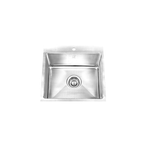 "PALO - MR - Top & Under Mount Single Bowl Square Sink - Radius Corners - 24 1/2"" x 22"" x 9"