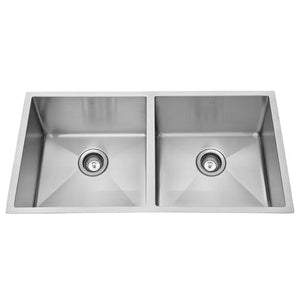 "QILA - E - 16 Gauge Double Equal Designer Square Kitchen Sink - Sinks Grids Included - 32"" x 19"" x 10"""