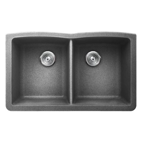 "VERTU - E - Double Equal NuGranite Kitchen Sink -Sink Grids Included - Graphite Grey - 31 3/4"" x 19 1/2""x 9 1/2"""