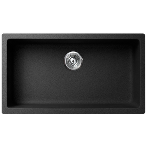 "VERTU - M - Single Bowl NuGranite Kitchen Sink - Sink Grid Included - Black Color - 31 1/8"" x 18 1/8"" x 9 7/8"""