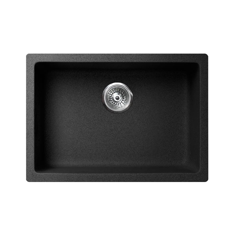 "VERTU - S - Single Bowl NuGranite  Sink - BLACK - 24"" x 18 1/2"" x 7 3/4"""