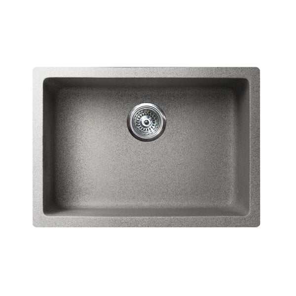 "VERTU - S - Single Bowl NuGranite  Sink - Graphite Grey - 24"" x 18 1/2"" x 7 3/4"""