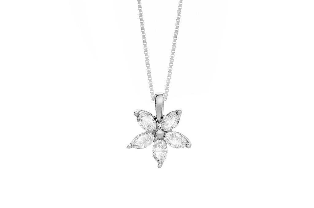 Diamond flower necklace set in 14k white gold