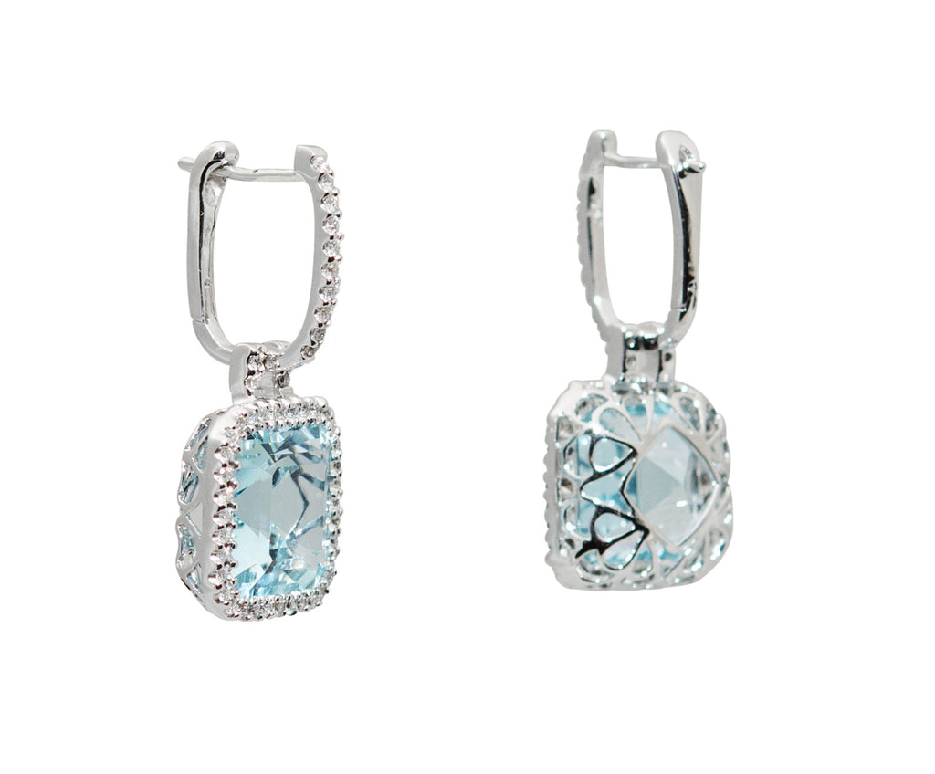 Aquamarine square emerald cut earrings 8.50 cts & diamonds 0.39 cts set in 18k white Italian gold mounting. Square drop 12.70 x 12.70 mm, hoop length 12.70 mm. Secure hinge system.  Asscher cut  stones.
