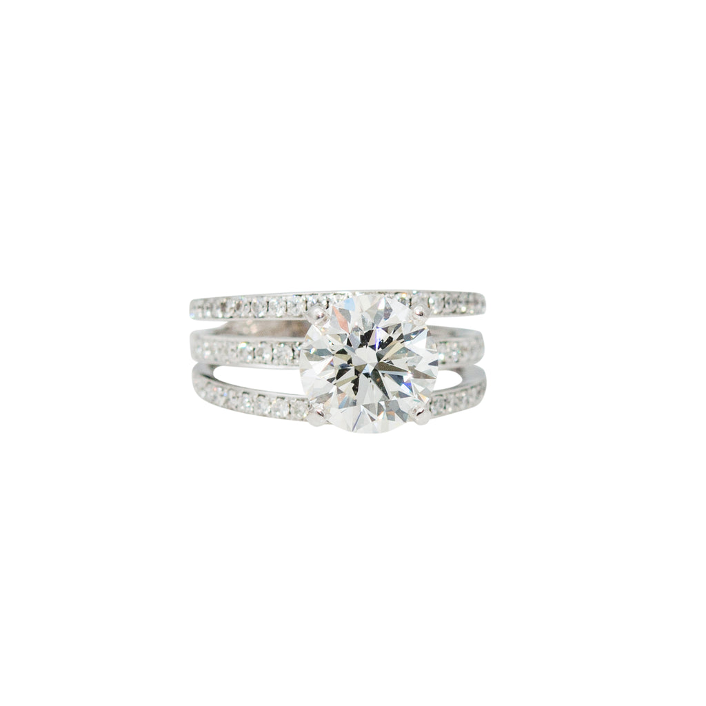 Three Row Diamond Solitaire Ring