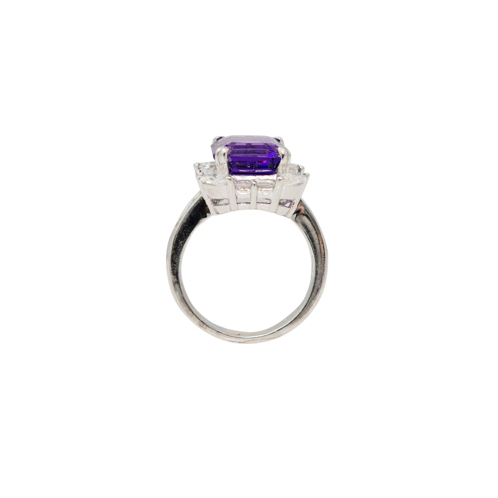 Amethyst & Diamond Cocktail Fashion Ring