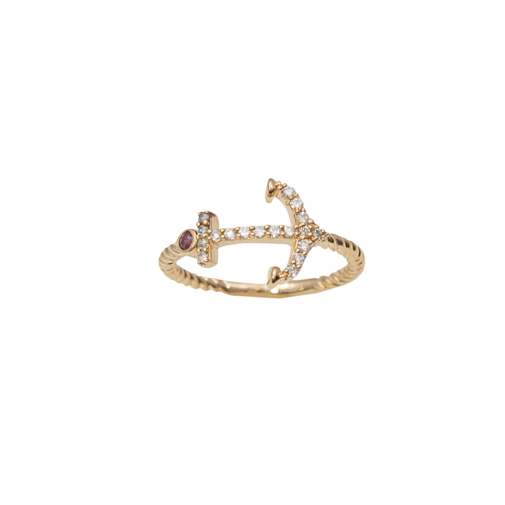 Yellow gold diamond anchor ring