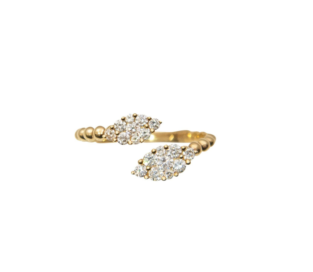 Fashion twin ring set in 18k yellow gold with diamonds 0.50 cts