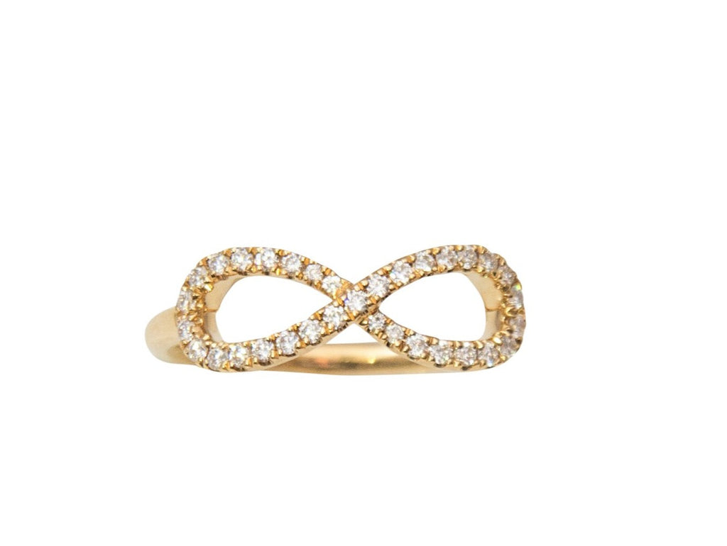 18k yellow gold diamond infinity sign. 33 round diamonds 0.22 cts. 17.00 x 6.15 mm infinity sign.
