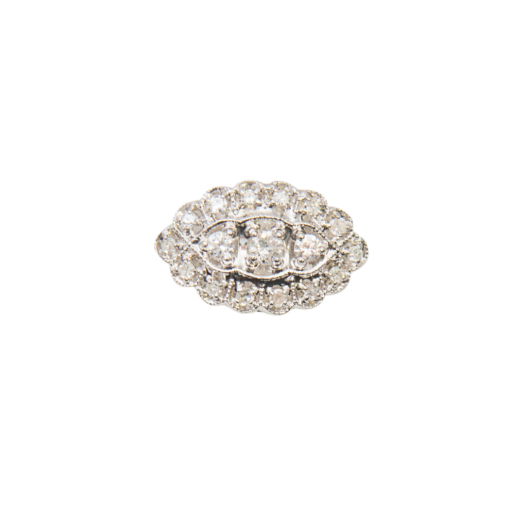 "Diamond antique ring from our estate jewelry section. 14k white gold, round diamonds 0.40 cts. Sizeable. 3/4"" wide."