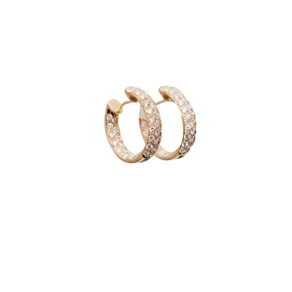 Diamond Hoop Inside-Out Rose Gold Earrings