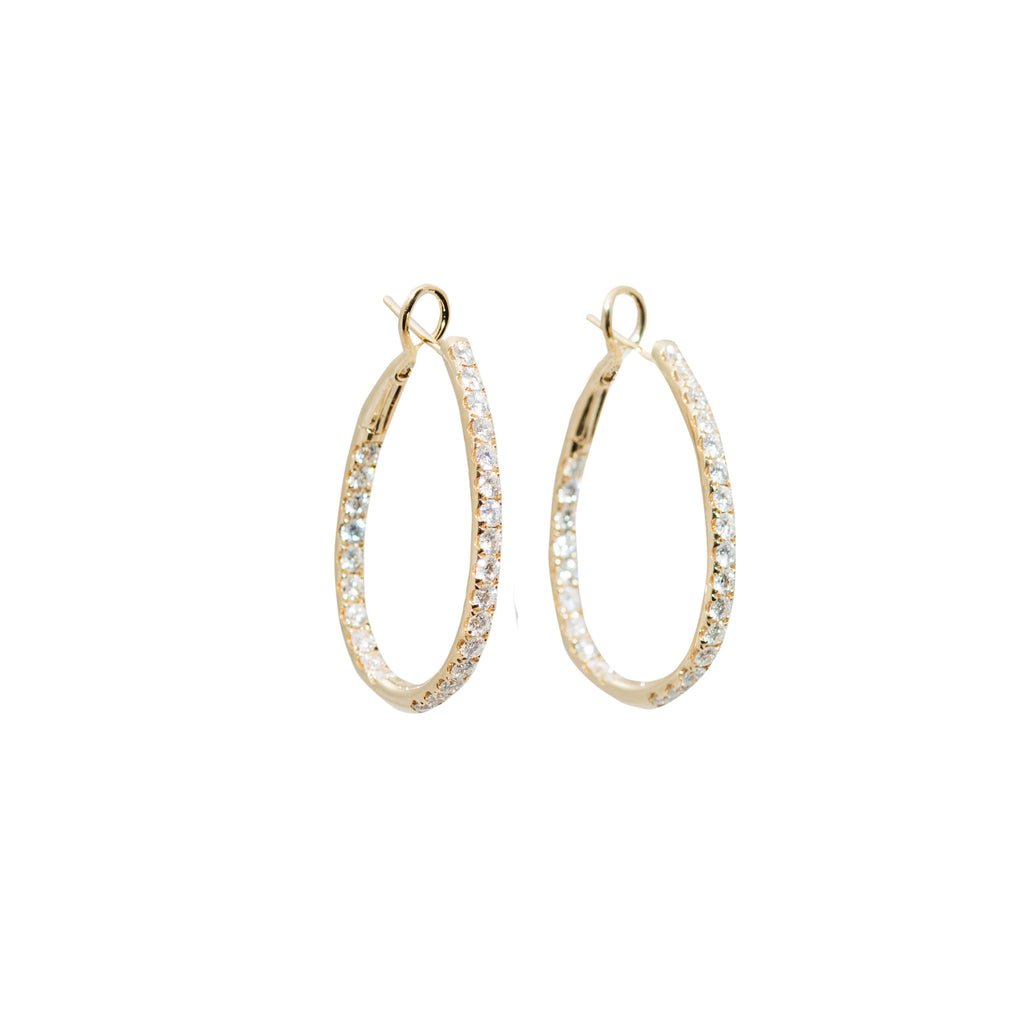 Diamond Hoop Inside-Out Earrings Yellow Gold