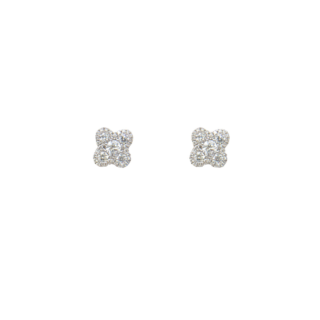 Flower style diamond earrings, 18k white gold, round diamonds 0.90 cts, medium weight friction back. 8.40 mm.