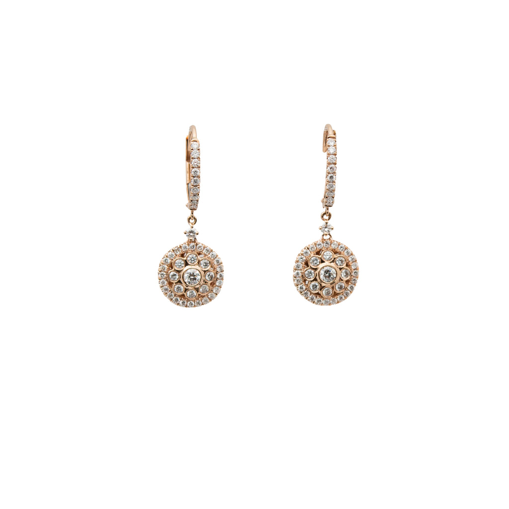 Filigree Style Diamond Drop Earrings