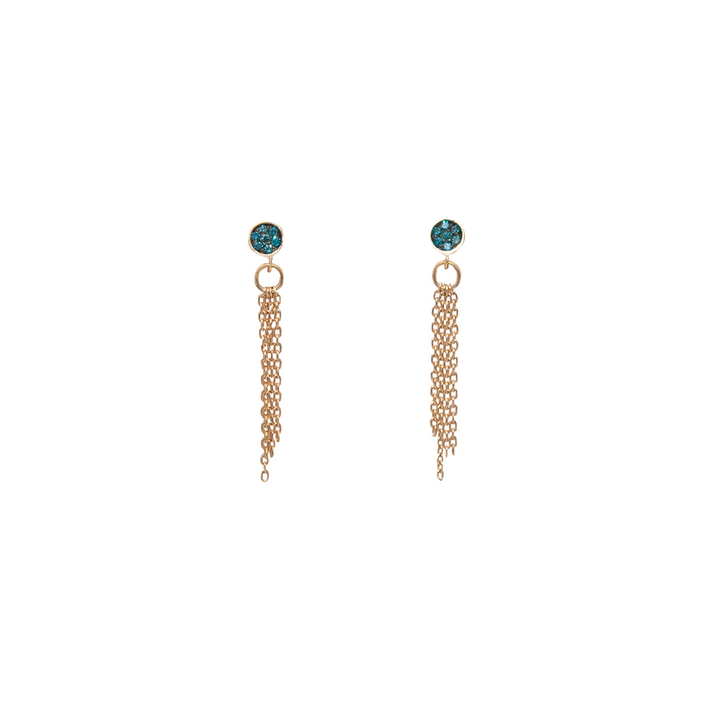 Blue Diamond Tassel Earrings