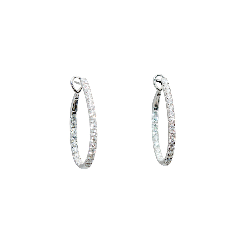 Diamond Hoop Inside-Out Earrings White Gold