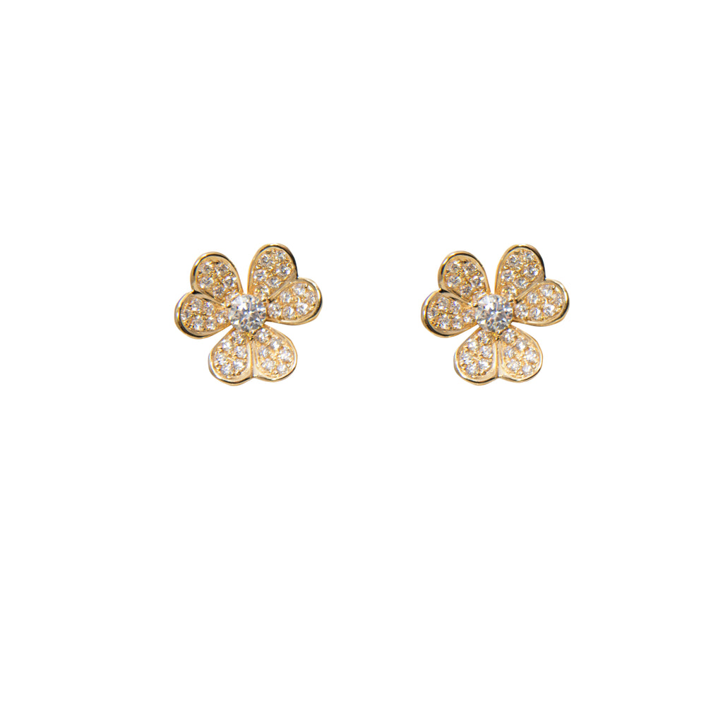 18k yellow gold flower earrings with 74 round diamonds 0.92 cts