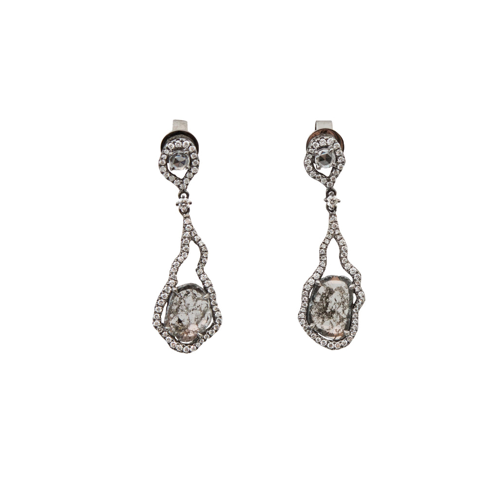 Drop Diamond Earrings With Black Rhodium