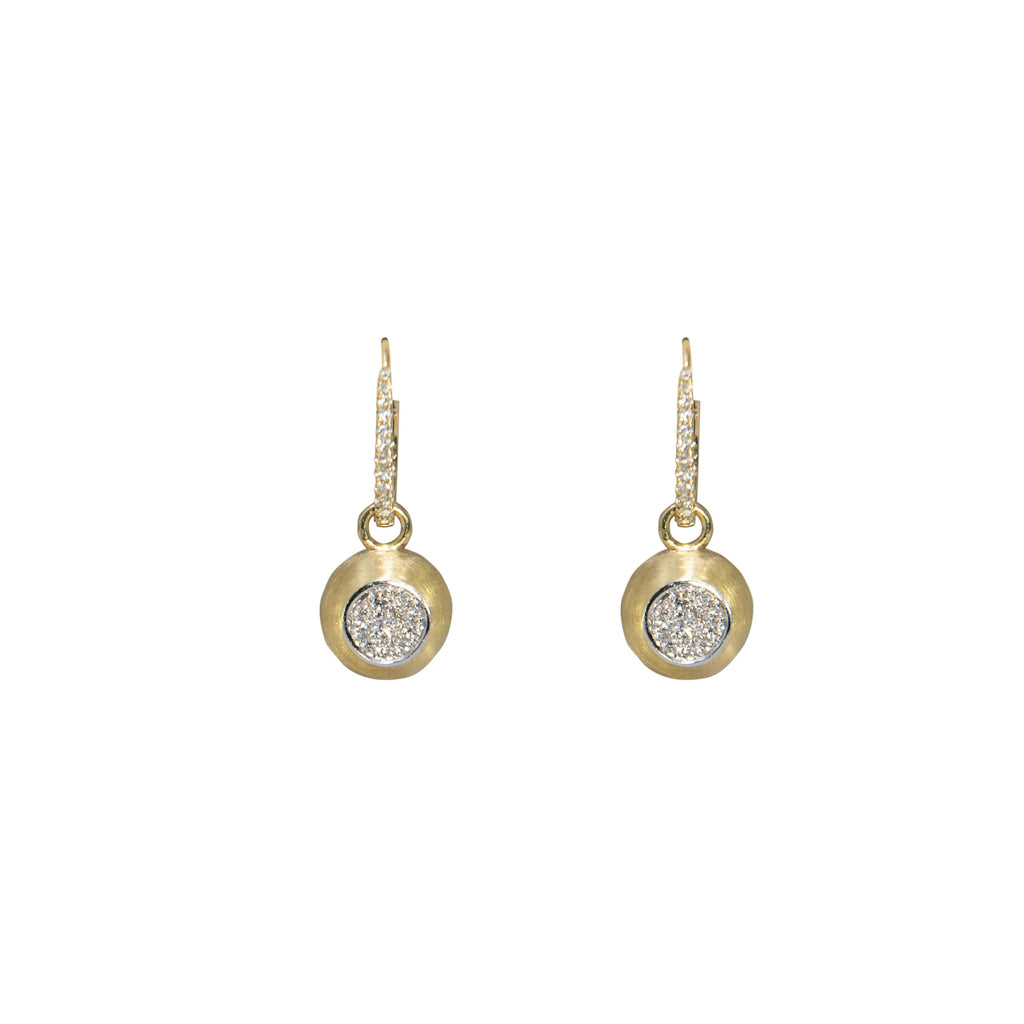 "14k yellow gold diamond drop earrings. 0.62 cts. 1"" total length; bottom part is removable 11 mm,  top part will become a hoop 14 mm. (two in one earring). Matte finish."
