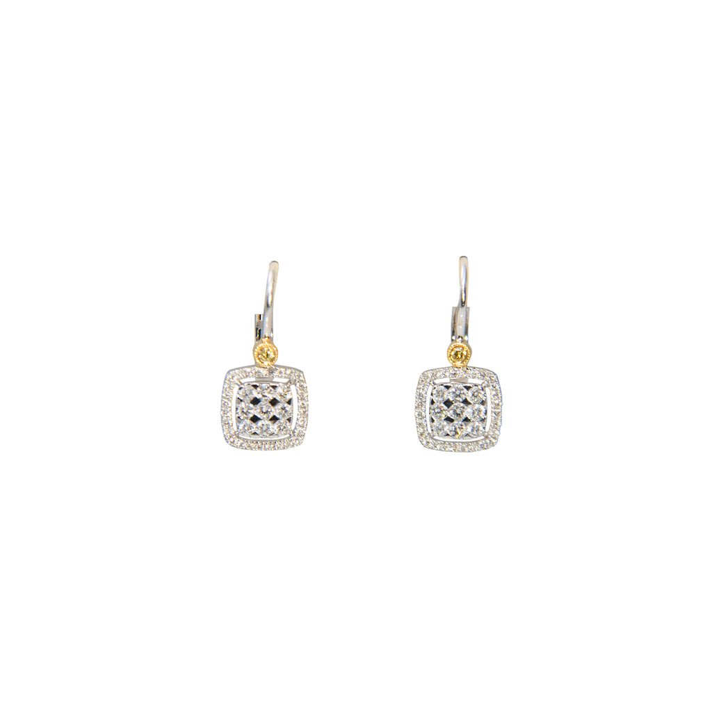 18k white gold two tone diamond earrings, one yellow diamond 0.03 cts & white round diamonds 0.49 cts. Illusion & bezel square setting. Back lever system