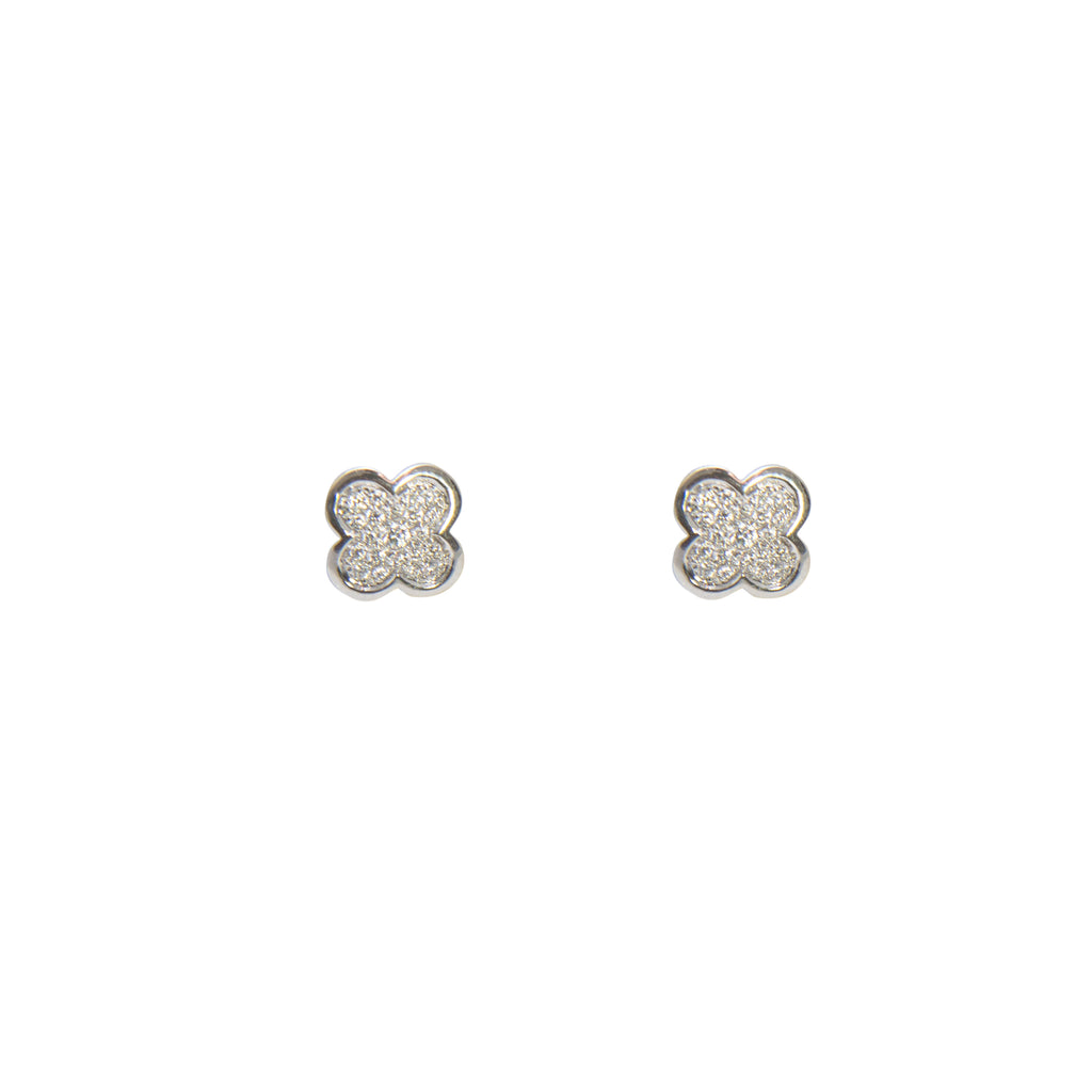 Flower style diamond earrings, 0.27 cts, 18k white gold, medium weight friction backs, 8.40 mm.