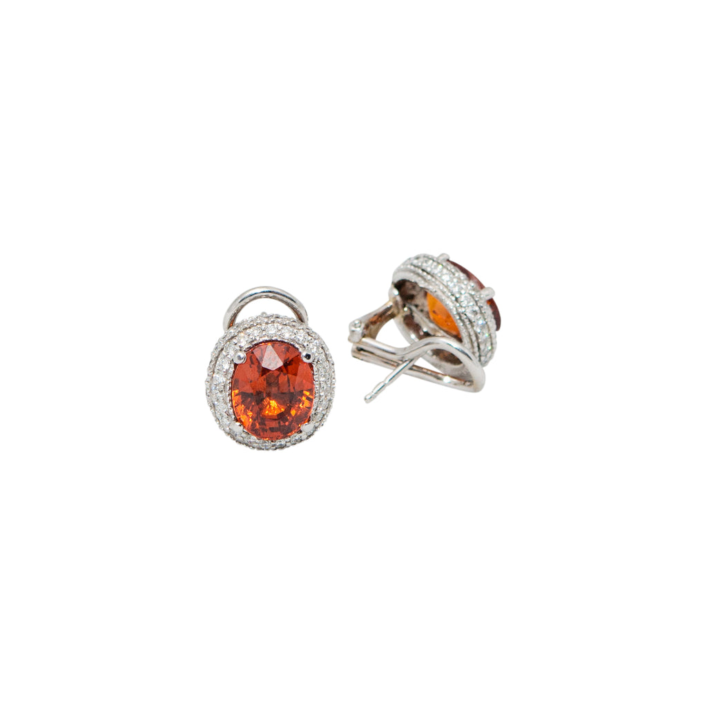 Mandarin Garnet & Diamond Earrings